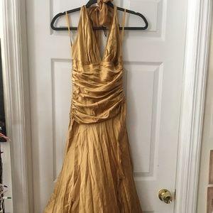 100% Silk Gold Backless Midi Dress   Cache